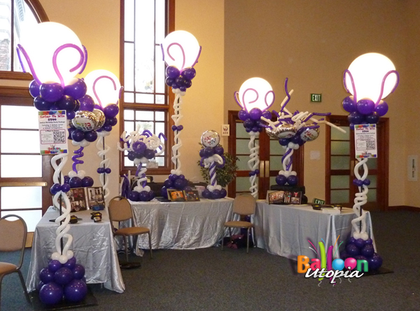 Trade Show Booth with Light Up Victorian Balloon Columns